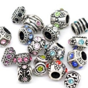 Five (5) Pack of Assorted Pandora Style Antique Silver And Rhinestone Crystal Charm Spacer Beads.