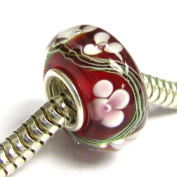 Sterling Silver Murano Flower Red Glass Valentines Bead 13mm For Pandora Troll Chamilia Biagi European Story Charm Bracelets Jewellery