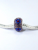 . Crystal Bead Tanzanite Blue Sapphire Flower with Siam Centre