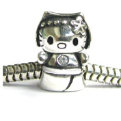 Queenberry Sterling Silver Kitty Cat Clear Cz Bead For Pandora Troll Chamilia Biagi European Charm Bracelets