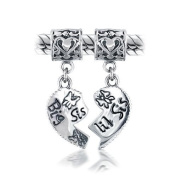 Mothers Day Gifts Bling Jewellery Sterling Silver Big Sis Little Sis Heart Dangle Bead Fits Pandora Chamilia Troll Biagi