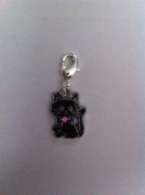 Divine Beads Black Enamel Lucky Cheshire Cat Dangle Charm Bead wear it on a Thomas Sabo charm bracelet and other European Clip on Charm Bracelets. Easily attached you can mix and match with our entire collection, worn on a necklace with a charm carrier ..