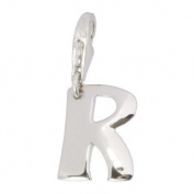 SilberDream Charm letter R, 925 Sterling Silver Charms Pendant with Lobster Clasp for Charms Bracelet, Necklace or Earring FC70R