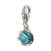SilberDream Charm turquoise ball in silvercage,925 Sterling Silver Charms Pendant with Lobster Clasp for Charms Bracelet, Necklace or Charms Carrier FC250T