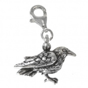 Sterling Silver Raven Crow Corvid Clip Charm Bird Pendant Totem Animal