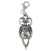 Winged Moon Goddess Symbol Sterling Silver Clip Charm