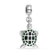 Bling Jewellery 925 Silver Green Turtle Dangle Charm Bead Fits Pandora