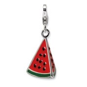 New Amore La Vita Sterling Silver 3-D Watermelon Charm with Lobster Clasp