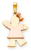 Girl with Bow Charm, Yellow/Pink Gold