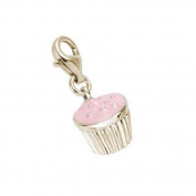 Rembrandt Charms Cupcake Charm with Lobster Clasp, 10K Yellow Gold