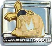 Man Praying In Front Of Cross Italian Charm Bracelet Jewellery Link