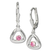 SilberDream earring silver triangle with pink zirconia, 925 Sterling Silver SDO546A