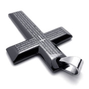 (Holiday Sale. U2U New Black Bible Cross Titanium Steel Pendant Necklace with Chains