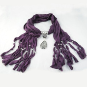 High Quality Cotton Fashion with Lady Large Resin Drop Style Pendant Design Purple Jewellery Scarf ,Nl-1222c