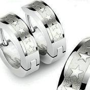 U2U Pair of 316l Surgical Stainless Steel Hoop Earring with 5 Star Logos