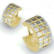 U2U Pair of 316l Surgical Stainless Steel Gold Plated Hoop Earring with Brushed Steel Grooved Square Grids