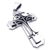 U2U Stainless Steel Mini Size Silver & black Ladies Cross Pendant Necklace with Chains
