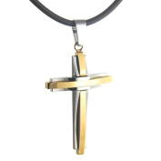 U2U Classic Gold and Silver Mosaic Titanium Cross Pendant Necklace with 2 Nice Chains