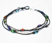 Black Hemp Three String Multicolor Glass Beaded Anklet - Handmade