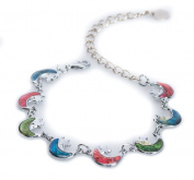 Silver Paua Shell Crescent Moon Link Anklet by Jewely Nexus
