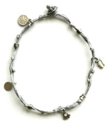 Silver Ankle Bracelet with Good Luck Charms