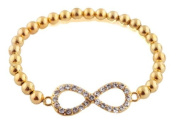 Ladies Gold with Clear Stones Infinity Style Shamballah Stretch Bracelet