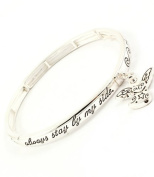 Accessory Accomplice Silvertone Guardian Angel Charm Engraved Stretch Bangle Bracelet