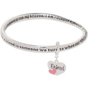 Heirloom Finds A Friend Is Friendship Bangle Charm Bracelet in Silver Tone