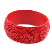 Handmade Chinese Carved Lacquer LONG LIFE Bangle Bracelet 3.2cm