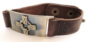 Celtic Cross Leather Bracelet, Adjustable