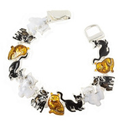 Black White and Brown Magnetic Closure Cat Fashion Bracelet