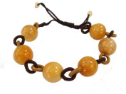 Hand-Tied Natural Yellow Jade Bead Ring-Linked Bracelet with Adjustable Cord