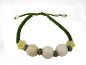 Hand-Tied Natural Jade Bead Green Knot-Linked Bracelet with Adjustable Cord