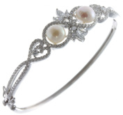 Classical 925 Sterling Silver Women Bangle with Cubic Zirconia/CZ, Pearl - 6cm*4mm, 12 Grammes