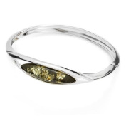 Sterling silver and marquise-shaped, green amber bracelet