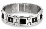 STEL Stainless Steel Black Enamel Inlay and .12ct tw Diamond Bracelet 21.6cm