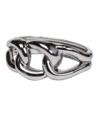 Silver Tone Wave Loop Chain Bracelet with Hinge Closure Crafted by Jewellery Nexus