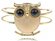 Gold Tone Peach Fat Body Hoot Wide Eye Night Perch Owl Bird Bracelet Cuff Bangle