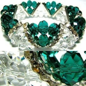Teal & Clear Faceted Stretch Bracelet Fashion Jewellery