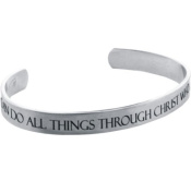 """Forgiven Jewellery - Stainless Steel - Etched """"I CAN Do ALL Things Through Christ""""... Philippians 4:13 Cuff Bracelet"""