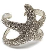 Designer Silver Tone Rhodium Plated Starfish Adjustable Cuff Bangle Bracelet