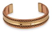 Brass Inlay Copper Braid Cuff Bracelet