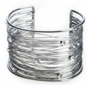String Fibres with Floating Crystals Cuff Bracelet Handcrafted by Jewellery Nexus