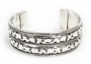 Brass Carved Leaf Cuff Bracelet Silver Tone