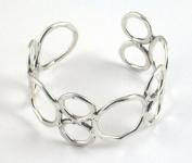Brass Orbit Cuff Bracelet Silver Tone