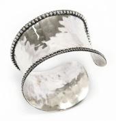 Rustic Cuff Bracelet Silver Tone