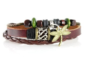 Dragonfly Leather Zen Bracelet, Fits 6 to 22.9cm in Gift Box