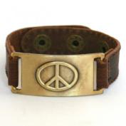 Peace Sign Bracelet, Leather, Adjustable