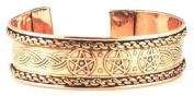 Pentagram Engraved Copper Cuff Bracelet Women's Men's Religious Wiccan Wicca Jewellery
