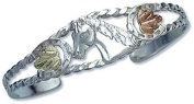 Landstroms Sterling Silver Cuff Bracelet with Horse's Head and Black Hills Gold Leaves - 07289SS